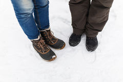 People in jeans on winter Stock Photography