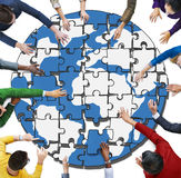 People with Jigsaw Puzzle Forming Globe Illustration Concept royalty free stock image