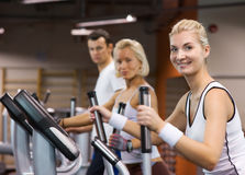 People jogging in a gym stock photography
