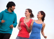 People jogging outdoors Stock Images