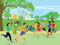 People jogging in a park Royalty Free Stock Photos