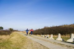 People jogging on trail. Two people jogging on a paved trail Royalty Free Stock Image