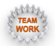People joined as a team. Many 3d people form a circle and Team Work word at the center Stock Image
