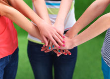 People joining their hands  on green grass Stock Images