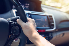 People journey drive vehicle car road trip travel. In vacation summer holiday, hand driver chauffeur control steering wheel Royalty Free Stock Image