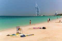 People on the Jumeirah Beach in Dubai, UAE Stock Photo