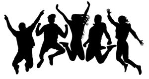People jump vector silhouette. Jumping friends youth background. Crowd people, close to each other. Cheerful man and woman. Isolated vector illustration