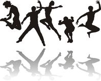 People jumping. Silhouettes of young people jumping Stock Photo