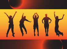 People jumping. Illustration of people jumping with abstract background royalty free illustration