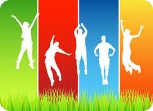 People jumping. Illustration of happy people jumping stock illustration