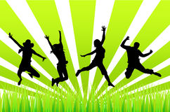 People jumping. Illustration of happy people jumping royalty free illustration