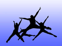 People jumping. Silhouette of four people jumping Stock Photography