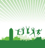 People jumping on a cityscape Royalty Free Stock Photos