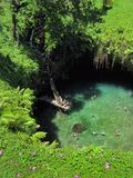 People jumping and climbing into famous To Sua Ocean Trench, swimming hole in Samoa, Upolu island in Pacific. People jumping and climbing into the famous To Sua stock photo