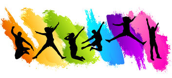 People jumping colors. People fun jumping colors backgrounds Stock Photo