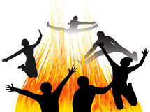 People jumping and fire. Illustration of people jumping and fire Stock Photos