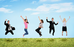 People jumping in lanscape Royalty Free Stock Photo