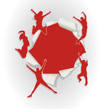 People jumping out of hole in paper stock illustration