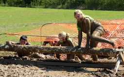 People Jumping over muddy logs in the Mud while competing in a Mud Run Stock Images