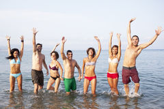 People jumping in the sea Royalty Free Stock Image