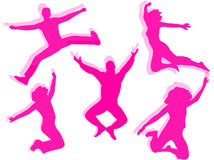 People jumping silhouette Stock Photography