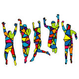 People jumping. Silhouette patterned in colorful mosaic backgrou Stock Photos