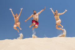 People jumping in summer Royalty Free Stock Photo