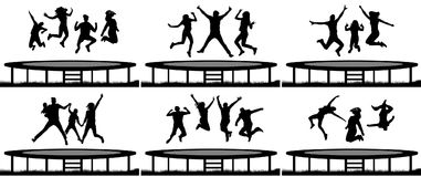 People jumping trampoline silhouette set. People jumping trampoline silhouette set Stock Photography
