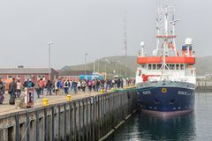 People just disembarked the ferry at island Helgoland Stock Photos