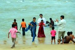 People at kanyakumari beach Stock Image