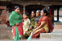 People of Kathmandu relaxing in the Durbar square Stock Photos