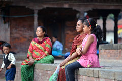 People of Kathmandu relaxing in the Durbar square Royalty Free Stock Photography