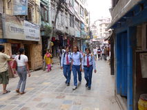 People in Kathmandu, The Streets of Thamel Royalty Free Stock Photo