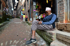 People from Katmandu suburbs living in poverty Royalty Free Stock Images