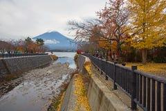 people at Kawaguchiko lake to see mt. Fuji Stock Image
