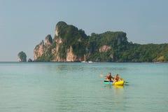 People kayaking at Ao Loh Dalum on Phi Phi Don Island, Krabi Pro Royalty Free Stock Photo