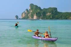 People kayaking at Ao Loh Dalum on Phi Phi Don Island, Krabi Pro Stock Photos