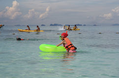People kayaking and snorkeling in Andaman Sea Royalty Free Stock Photo