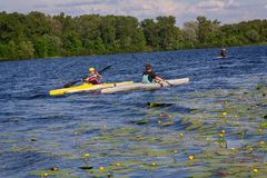 People on kayaks float down the river stock images
