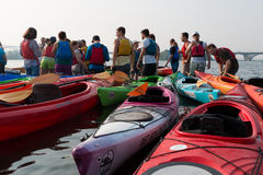 People and kayaks on the river dnepr in kiev Stock Images