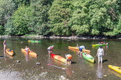 People with kayaks on the river Semois near Bouillon, Belgium Stock Image