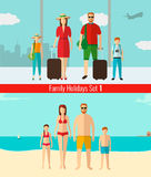 People with kids traveling on vacation. Summer holidays. Vector Stock Photos