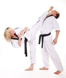 People in kimono fight on white Stock Photography
