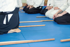 People in kimono on martial arts weapon training Royalty Free Stock Photo