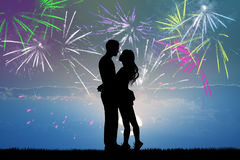 People kissing in the fireworks. Illustration of people kissing in the fireworks Royalty Free Stock Image