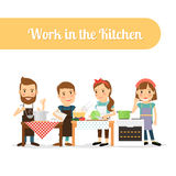 People in the kitchen cooking food Royalty Free Stock Photos