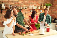 People at kitchen stock image