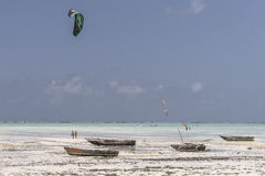 People and kite surfers Royalty Free Stock Photo