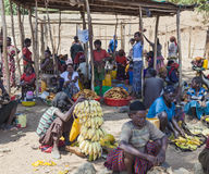 People from Konso tribal area at local village market. Omo Valle Royalty Free Stock Photography