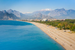 People at Konyaalti beach in Antalya Royalty Free Stock Photography